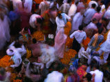 Crowds at Chowk Flower Market During Diwali Festival  Varanasi  Uttar Pradesh  India