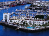 Building and Boats of Marina  Puerto De Mogan  Canary Islands  Spain