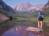 Woman Hiker at Maroon Bells  Aspen  CO