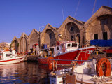 16th Century Arsenali (Docks) with Fishing Boats Moored in Inner Harbour  Hania  Crete  Greece