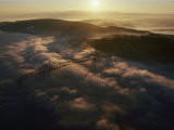 Aerial View of a Bridge over the Foggy Columbia River