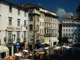 Market and Buildings in City Street  Coimbra  Portugal