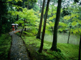 Visitors Stroll Down a Stone Path in a Japanese Garden