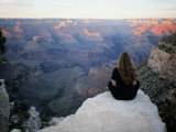 A Woman Looks out over the Spectacular Canyon Scenery