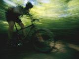 Panned Shot of a Mountain Biker