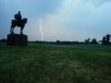 The Stonewall Jackson Statue Looks Towards a Bolt of Lightning