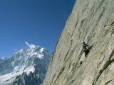 A Man Climbing Near Naysar Pass  Karakoram Mountains  Pakistan