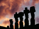 Silhouetted Moai Seen at Dusk