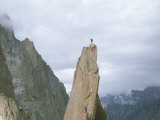 A Climber Stands Atop Tahir Tower  Karakoram Mountains  Pakistan