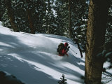 A Skier Skiing Backcountry Powder