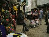 Cepni Women in Traditional Garb Gather on a Turkish Street