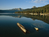 Calm Water with Submerged Log on a Mountain Lake