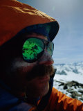 A View of Ruth Glacier is Reflected onto a Skiiers Sunglasses