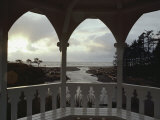 A View from Inside a Gazebo of a Stream Emptying into the Pacific Ocean
