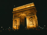 The Arc De Triomphe Lit up at Night
