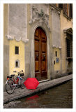 Red Umbrella and Bicycle at the Door  Florence
