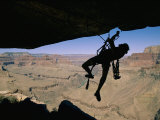 A Climber Uses Aid to Scale an Overhang on the South Rim