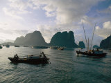 Sampans Ply the Placid Waters of Halong Bay
