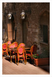 Ristorante with Red Chairs  San Gimignano