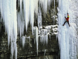 A Woman Ice Climbing in British Columbia