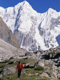 A Man Hikes Through the Karakoram Range  Pakistan