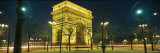 Night View of the Illuminated Arc De Triomphe in Paris