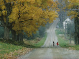 Two People Walk Down a Gravel Road