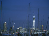 Auckland Skyline with Skytower at Dusk and Halyards in Foreground