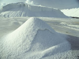 Piles of Salt Harvested from the Sea Resemble Snow Drifts