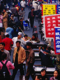 Crowds on Wangfujing Street in Dongcheng Bejing  China