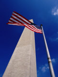 Washington Monument with the National Flag  Washington DC  USA