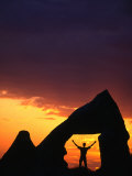 Man Silhouetted in Rock Opening at Sunset  Goreme  Nevsehir  Turkey
