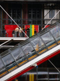 People Travelling Up Glass Escalator at Centre Georges Pompidou  Paris  Ile-De-France  France