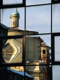 Reflection of St Caterina in Glass Building  Asti  Italy