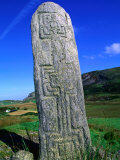 Historic Pillar with Geometric Design  Glencolumbcille  Ireland