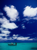 Tourists in Boat on Aitutaki Lagoon  Cook Islands  Pacific