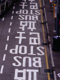 Bus Stop Markings at Wanchai  Hong Kong  China
