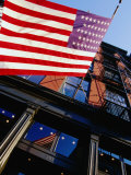 American Flag Waving at West Broadway in Soho  New York City  New York  USA