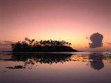 Dawn Sky Over Motu Taakoka  Mirrored in Waters of Muri Lagoon  Muri  Cook Islands