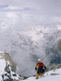 A Mountaineer Descends Near the Summit of Grand Teton in Wyoming