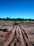Landrover Driving Over Dry River Bed  Matusadona National Park  Mashonaland West  Zimbabwe