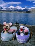 Hire Boats Sit on Shore of Karakul Lake on Route to Kashgar  Kara Kul  Xinjiang  China