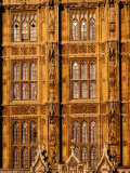 Architectural Detail of Neo-Gothic Houses of Parliament  London  England