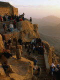 Crowd Watching Sunrise from Summit of Mt Sinai  Mt Sinai  Egypt