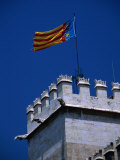 Flag Flies Over the 15th Century Lonja Silk and Commodity Market  Valencia  Spain