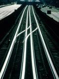 Railway Tracks Under La Defense Square  with Arc De Triomphe in Distance  Paris  France