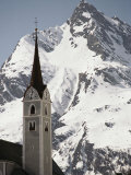 Church Tower and Ballunspitz Peak Seen from Galtur Region of Austria