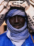Close Up of a Tuareg Carpet Seller in Traditional Indigo Clothing  Timbuktu  Mali