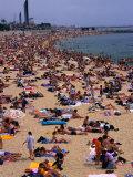 Crowded Beach of Platja De La Nova Icaria  Barcelona  Spain