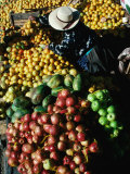 Fruit Vendor at Market Stall  Puno  Peru